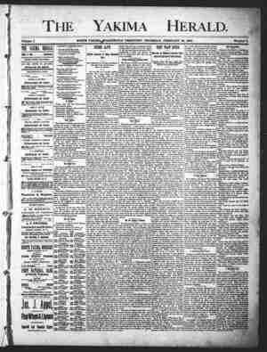 Yakima Herald Gazetesi 28 Şubat 1889 kapağı