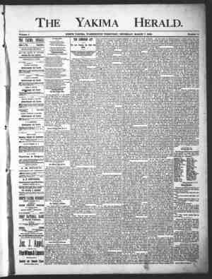 Yakima Herald Gazetesi 7 Mart 1889 kapağı