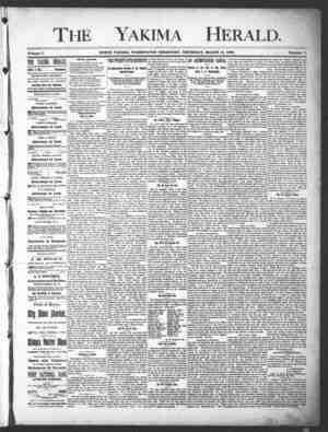 Yakima Herald Gazetesi 14 Mart 1889 kapağı