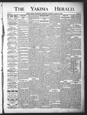 Yakima Herald Gazetesi 21 Mart 1889 kapağı