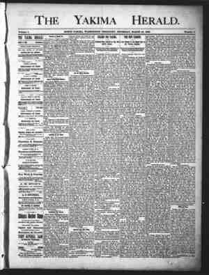 Yakima Herald Gazetesi 28 Mart 1889 kapağı