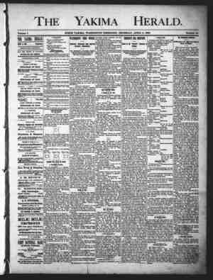 Yakima Herald Gazetesi 4 Nisan 1889 kapağı