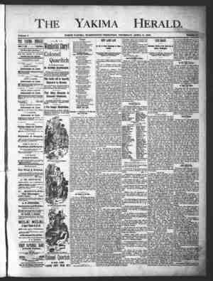 Yakima Herald Gazetesi 11 Nisan 1889 kapağı
