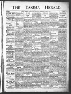 Yakima Herald Gazetesi 25 Nisan 1889 kapağı