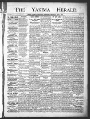 Yakima Herald Gazetesi 2 Mayıs 1889 kapağı