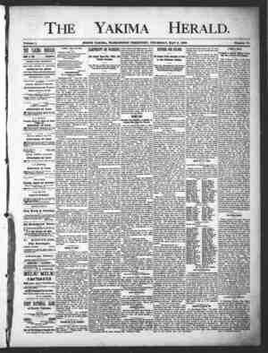 Yakima Herald Gazetesi 9 Mayıs 1889 kapağı