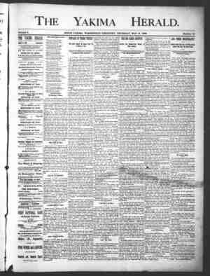 Yakima Herald Gazetesi 16 Mayıs 1889 kapağı