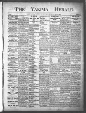 Yakima Herald Gazetesi 23 Mayıs 1889 kapağı