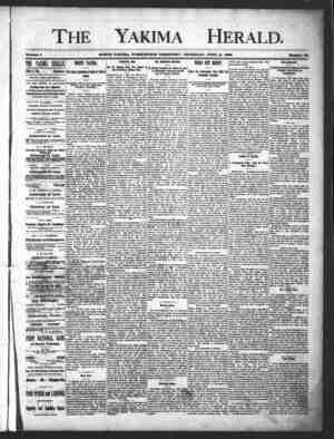Yakima Herald Gazetesi 13 Haziran 1889 kapağı