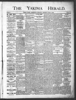 Yakima Herald Gazetesi 20 Haziran 1889 kapağı
