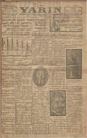 Yarın Gazetesi 6 Aralık 1929 kapağı