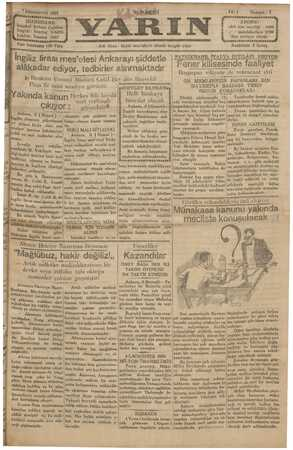 Yarın Gazetesi 7 Aralık 1929 kapağı