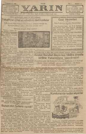 Yarın Gazetesi 8 Aralık 1929 kapağı