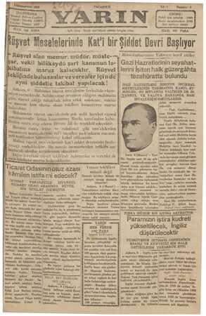 Yarın Gazetesi 9 Aralık 1929 kapağı