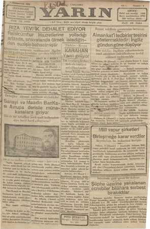 Yarın Gazetesi 11 Aralık 1929 kapağı