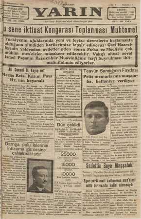 Yarın Gazetesi 12 Aralık 1929 kapağı