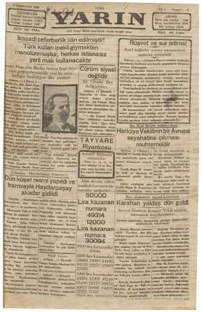Yarın Gazetesi 13 Aralık 1929 kapağı