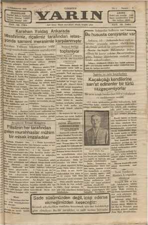 Yarın Gazetesi 14 Aralık 1929 kapağı