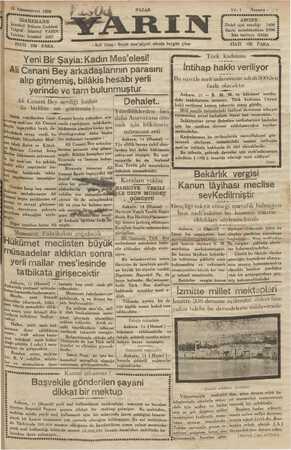 Yarın Gazetesi 15 Aralık 1929 kapağı