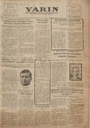 Yarın Gazetesi 24 Aralık 1929 kapağı