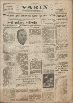 Yarın Gazetesi 25 Aralık 1929 kapağı