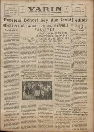 Yarın Gazetesi 26 Aralık 1929 kapağı