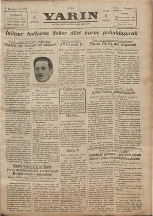 Yarın Gazetesi 27 Aralık 1929 kapağı