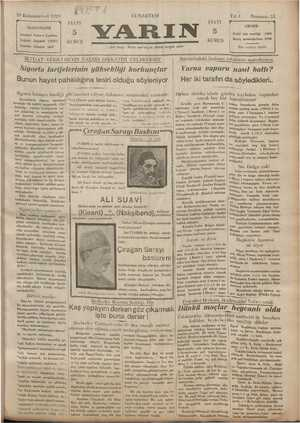 Yarın Gazetesi 28 Aralık 1929 kapağı