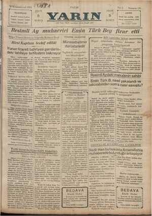 Yarın Gazetesi 29 Aralık 1929 kapağı