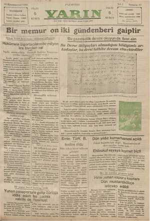 Yarın Gazetesi 30 Aralık 1929 kapağı