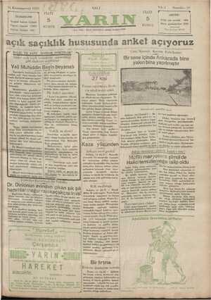 Yarın Gazetesi 31 Aralık 1929 kapağı