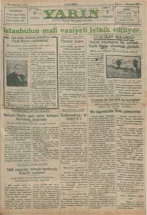 Yarın Gazetesi 1 Ocak 1930 kapağı
