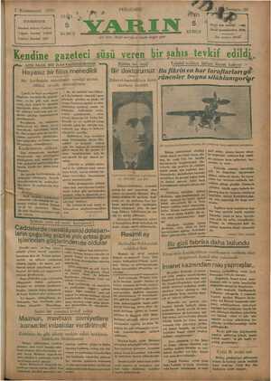 Yarın Gazetesi 2 Ocak 1930 kapağı