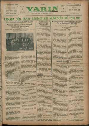 Yarın Gazetesi 7 Ocak 1930 kapağı