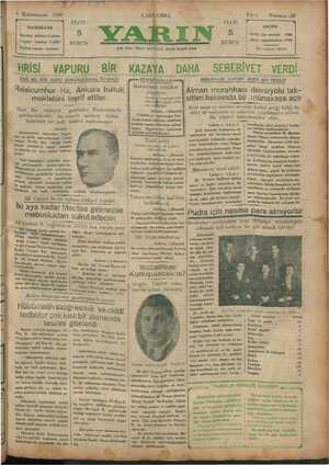 —i k Bd aa. & 8 Kânunusani 1930 İDAREHANE İstanbul Ankara Caddesi Telgraf : İstanbul YARIN Telefon tesisatı yapılıyor —— aĞ l