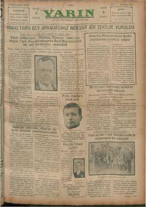 14 Kânunusani 1930 İDAREHANE İstanbul Ankara Caddesi Telgraf : İstanbul YARIN Telefon tesisatı yapılıyor —— —— —ai aa HAKKI
