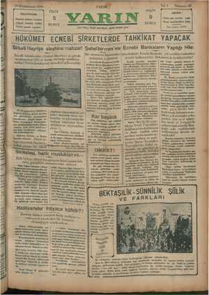 Yarın Gazetesi 19 Ocak 1930 kapağı