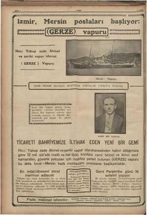 """p ; SSSSESİ SS : >< -— ; ; ğ ma İzmir, Mersin postaları başlıyor: .'î'...""""îîîîl (GERZE) vapuru ljîîîî.m'îîîîâ S20..."""