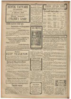 Sahife 6 ( BÜYÜK TAYYARE PİYANGOSU 8. İNCİ TERTİP 4. ÜNCÜ KEŞİDE 11 MAYIS 1930 Keşideler; Vilâyet, Şehremaneti, Defterdarlık,