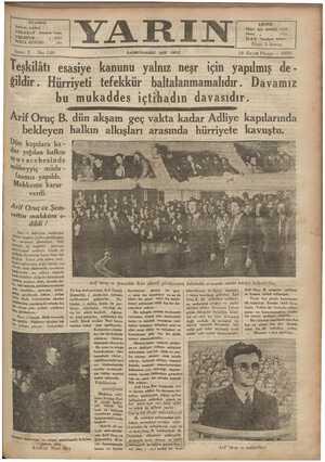 İSTANBUL : Ankara caddesi TELGRAF': İstanbul Yarın TELEPFON : . 4248 POSTA KUTUSU : 395 Sene: 2 — No: 148 Teşkilâatı esasiye