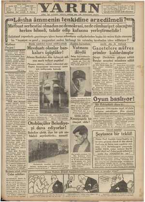 nmuz — POMSŞEMOL 1921 'YARIN Içiftei, KI Nü * a — aavr a e İdarehane Tatanhal Ankara caddesinde | Telefon Santral : İstanbul