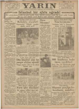 Yarın Gazetesi 6 Ağustos 1931 kapağı