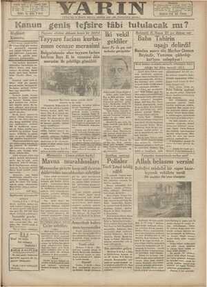 Yarın Gazetesi 7 Ağustos 1931 kapağı