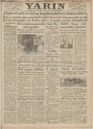 Yarın Gazetesi 8 Ağustos 1931 kapağı