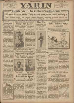 Yarın Gazetesi 9 Ağustos 1931 kapağı