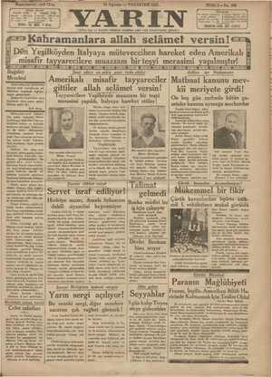 Yarın Gazetesi 10 Ağustos 1931 kapağı