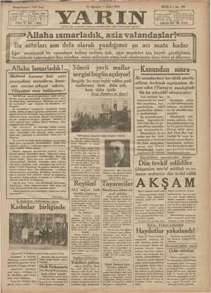 Yarın Gazetesi 11 Ağustos 1931 kapağı