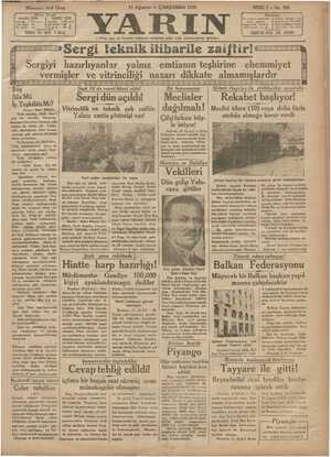 Yarın Gazetesi 12 Ağustos 1931 kapağı