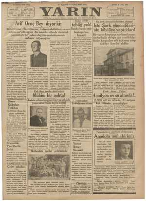 Yarın Gazetesi 13 Ağustos 1931 kapağı