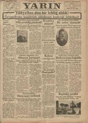 Yarın Gazetesi 14 Ağustos 1931 kapağı